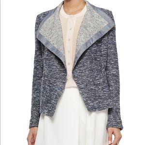 VINCE | XS Woven Tweed Draped Open Front Jacket